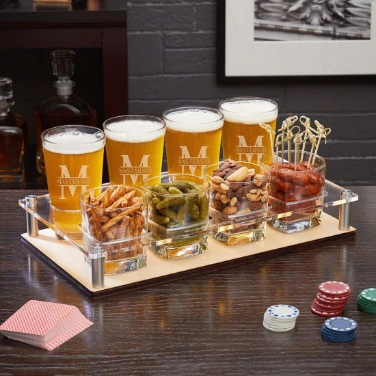 Pint Glasses and Snack Tumblers With Serving Tray