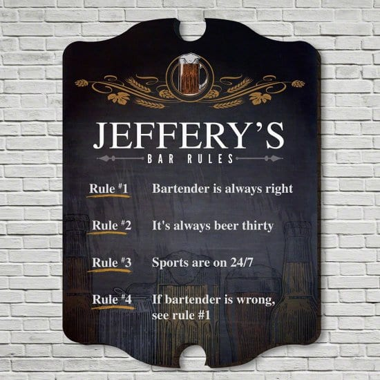 Personalized Bar Rule Sign is Unique Gifts for Husband