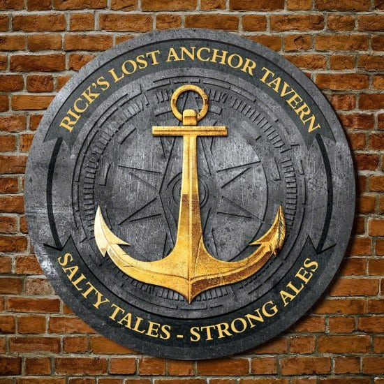 Custom Wooden Navy Anchor Sign