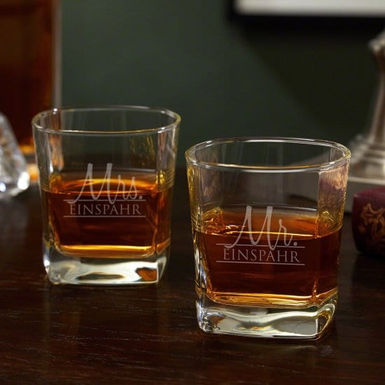 Set of Two Mr. and Mrs. Personalized Whiskey Glasses - Valentine's Day Gifts