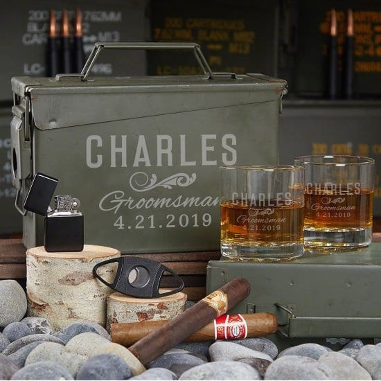 Whiskey and Cigar Ammo Can Gift Set for the Groom