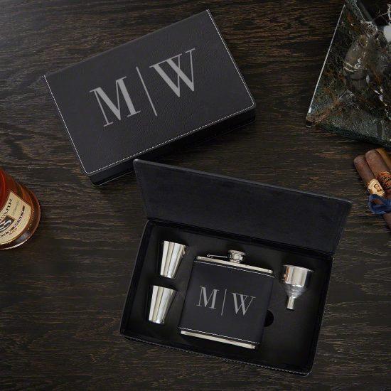 Custom Leather Flask Gift Set