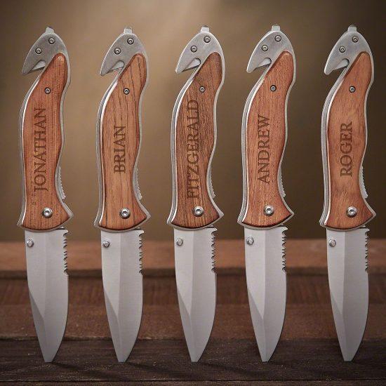 Set of 5 Engraved Knives for Groomsmen