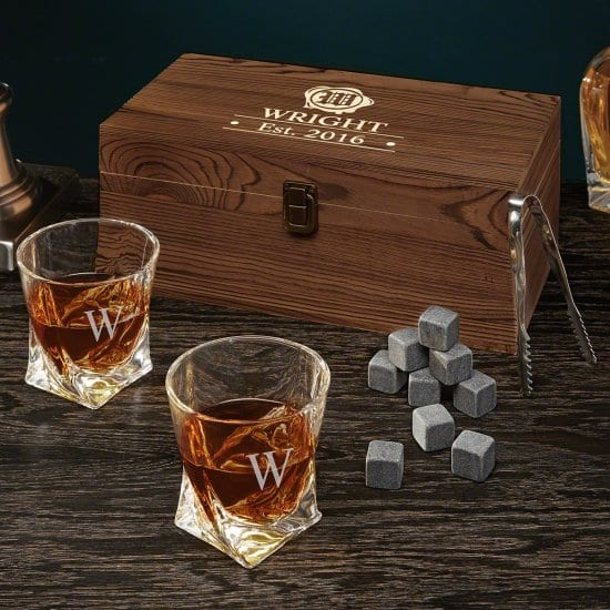 Engraved Whiskey Box Set with Glasses & Whiskey Stones