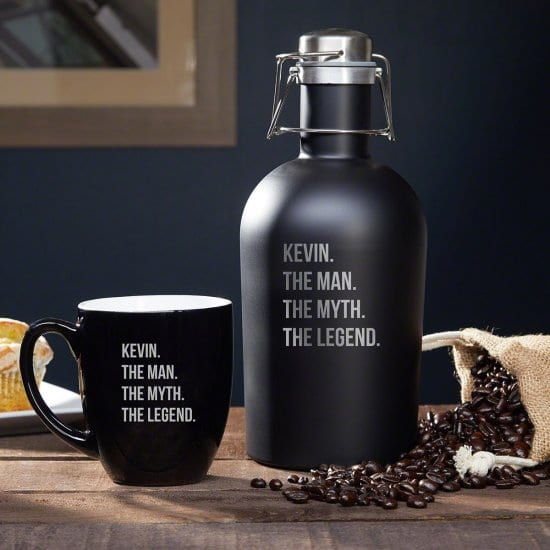Engraved Coffee Growler and Mug