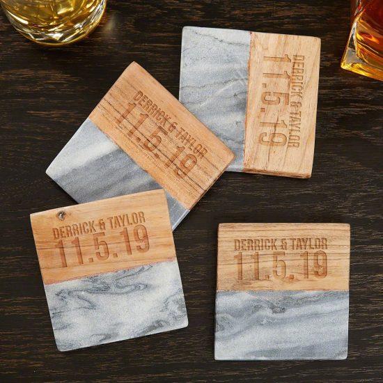 Custom Marble and Acacia Wedding Date Coasters