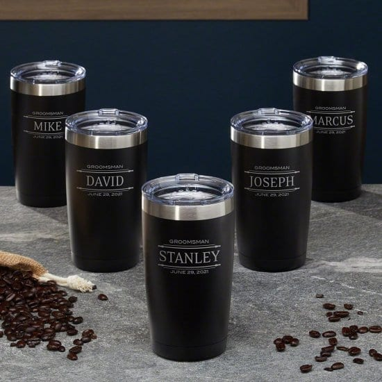 Engraved Coffee Tumblers, Set of 5