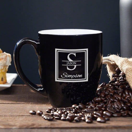 Black Coffee Mug with Custom Names and Initial