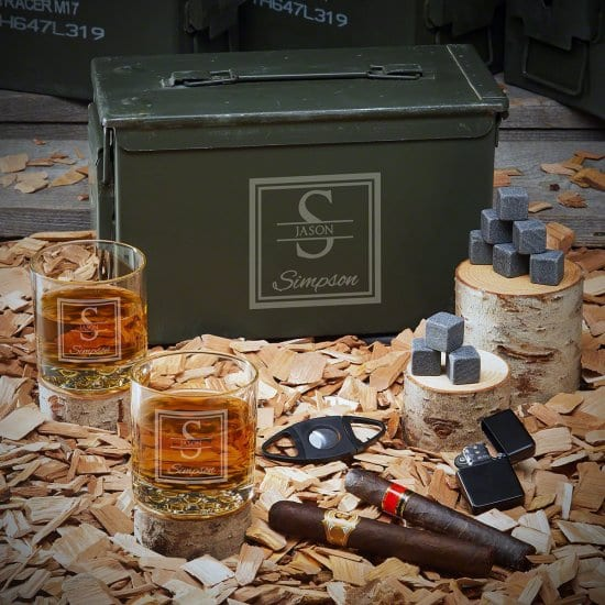 Custom Ammo Can with Whiskey and Cigar Accessories