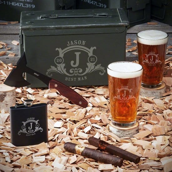 50 Caliber Ammo Can with Axe, Flask, and Pint Glasses this Anniversary