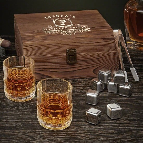 Box Set with Whiskey Glasses and Stainless Steel Whiskey Stones