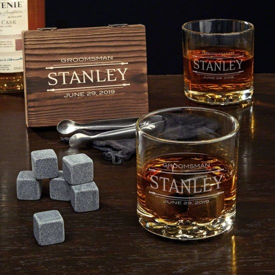 Personalized Whiskey Glasses and Whiskey Stones Set