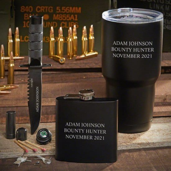 Tactical Knife with an Engraved Flask & Black Tumbler