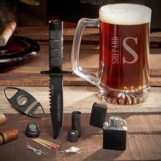 Personalized Beer and Cigar Gift Set with Survival Knife
