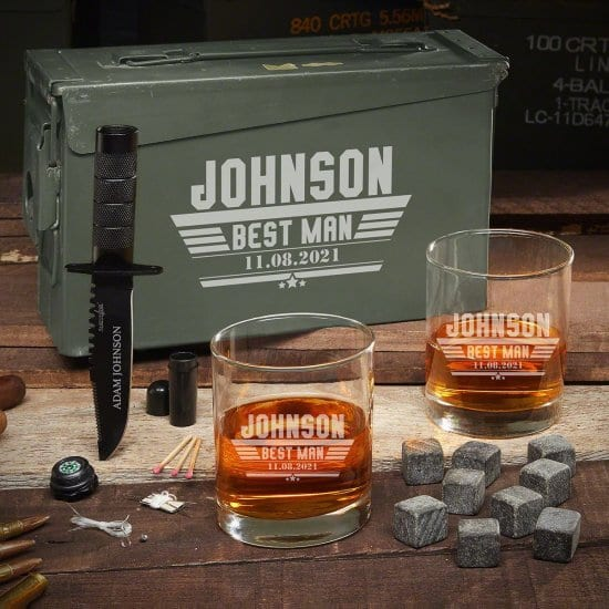 Custom Whiskey Ammo Can Gift Set with Survival Knife - Manly Gift for Husband