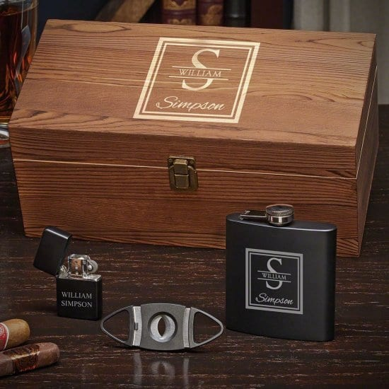 Flask & Cigar Accessories Box Set for Husband