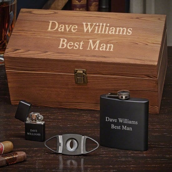 Cigar Accessories and Flask Set