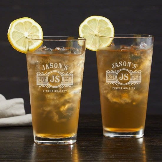 Set of Two Personalized Long Island Iced Tea Glasses
