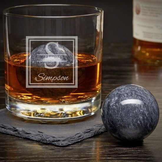Personalized Rocks Glass with Whiskey Spheres