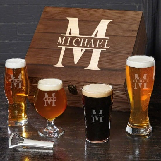 Engraved Beer Glass Tasting Set 20th Anniversary Gifts for Husband
