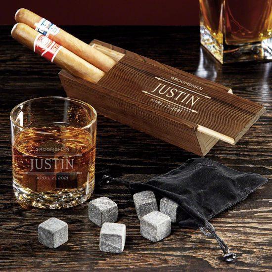 Cigar Box and Whiskey Set
