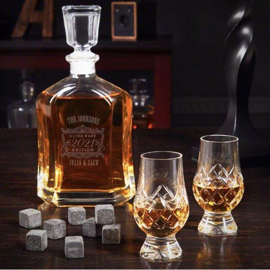 Engraved Liquor Decanter with Crystal Glencairn Glasses