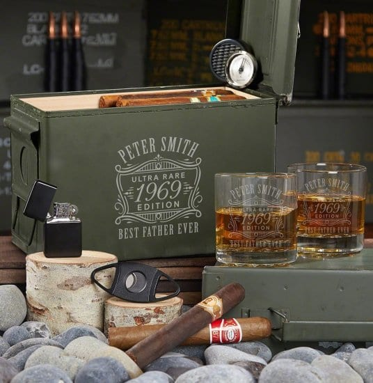 Ammo Can Humidor Set of Engraved Gifts for Men
