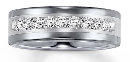 1 CT T.W. Diamond Tungsten Wedding Band