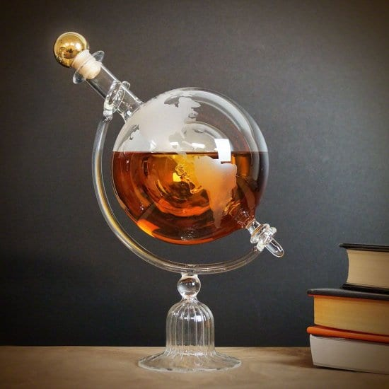 Etched Globe Liquor Decanter for Guys Who Have It All