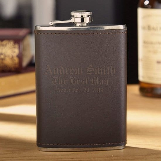 Personalized Leather-Bound Liquor Flask