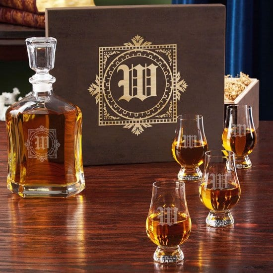 Old English Personalized Whiskey Decanter Gift Set with Glencairn Glasses