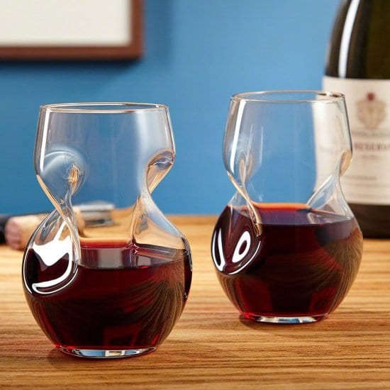 Set of Two Aerating Red Wine Glasses