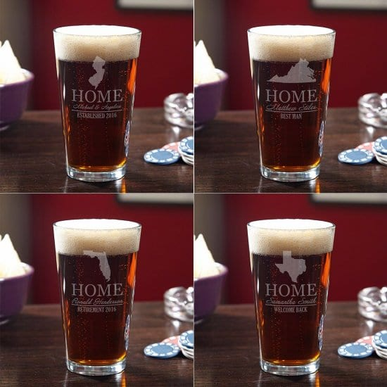 Pint Glass with Home State for College Graduates