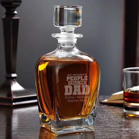 Personalized Whiskey Decanter for Dad with His Kids' Names On It
