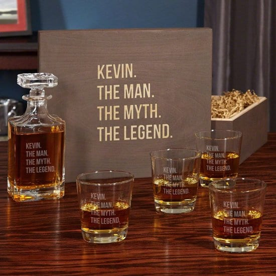 Personalized Six Piece Decanter and Glassware Set