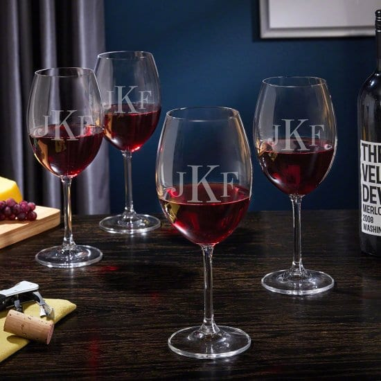 Set of Four Personalized Stemmed Wine Glasses
