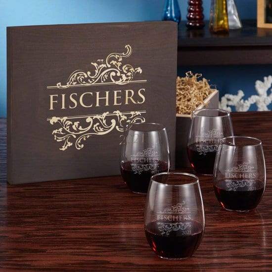 Set of Four Wine Glasses and Wooden Gift Box