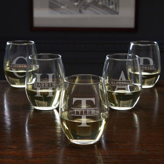 Five Engraved Stemless Wine Glasses