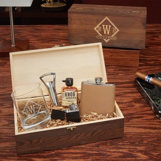 Box Set with Flask, Whiskey Glass, and More