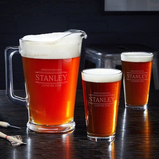 Glass Pitcher with 2 Pint Glasses