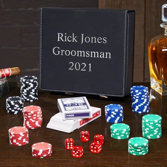 Poker Set with Faux Leather Personalized Travel Case