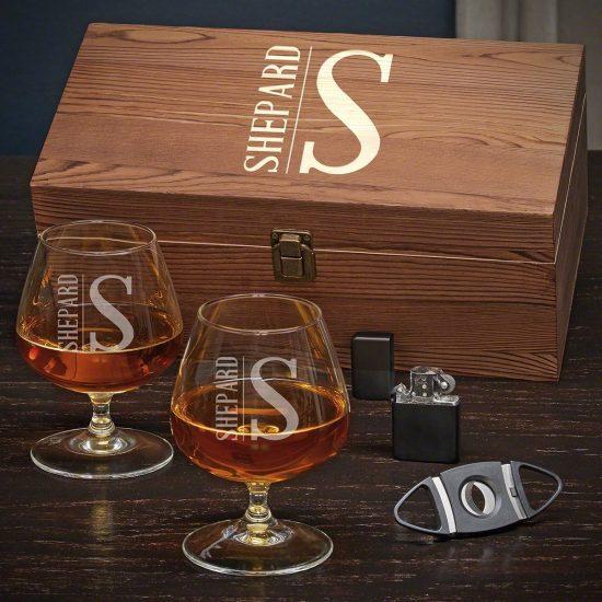 Custom Cognac and Cigar Accessory Gift Set