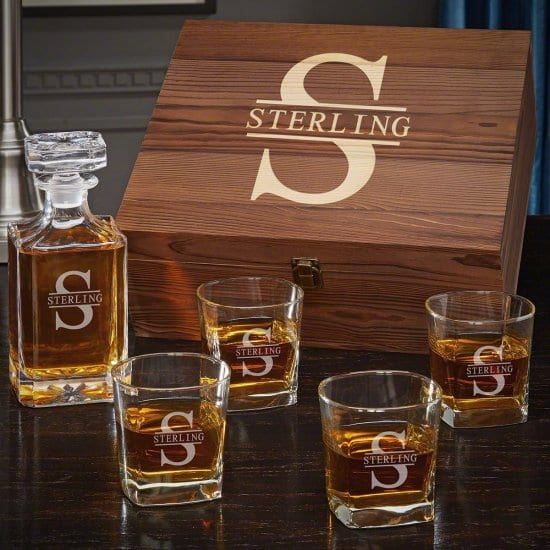 Personalized Whiskey Decanter Set with Four Glasses and Gift Box