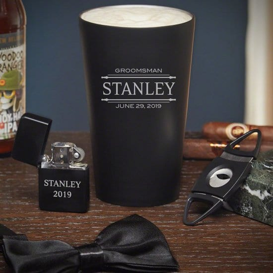 Custom Groomsmen Gift Set with Cigar Accessories and Bowtie