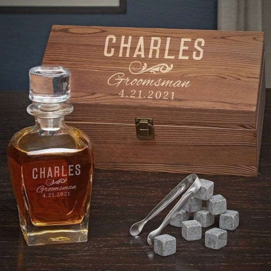 Classic Groomsman Decanter Set with Whiskey Stones