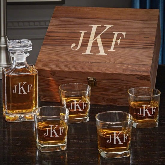 Boxed Decanter Set with 4 Rocks Glasses