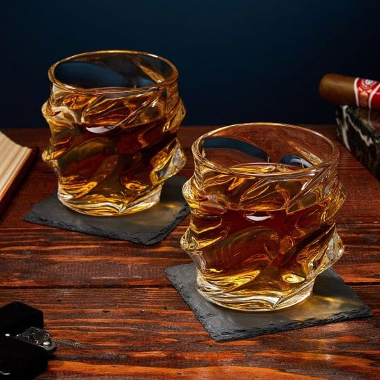 Two Sculpted Whiskey Glasses