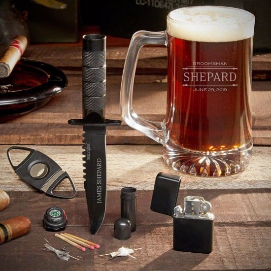 Custom Beer Mug Gift Set with Cigar Accessories and Survival Knife