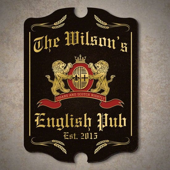 Personalized English Pub Wooden Sign