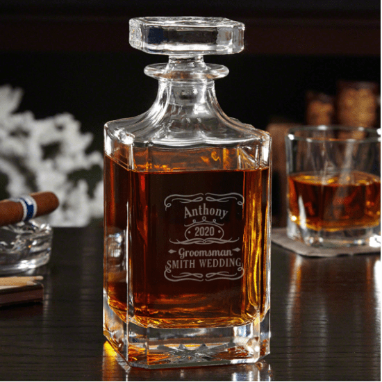 Personalized Whiskey Decanter Inexpensive Groomsmen Gift Ideas
